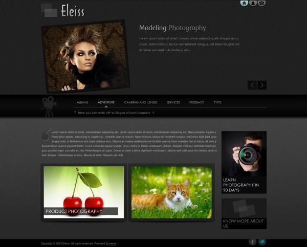 Template: a039 Elegant and classy web design in dark black tones with edgy feel  Recommended for: Photographers, Jewellery, Ethnic Apparels, Lifestyle Goods, Dance and Entertainment