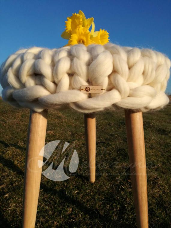 Wood and wool stool wooden stool wool pillow merino by Meluzyna