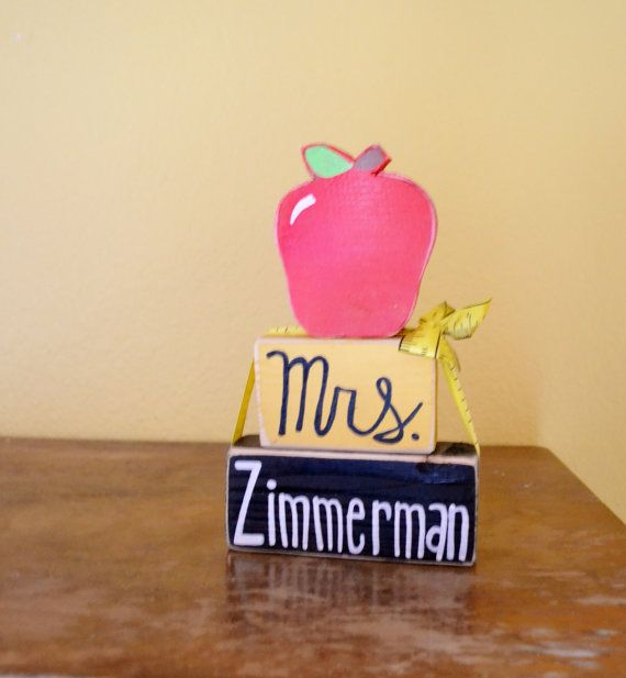 Teacher Name Wood Block Name Shelf Sitter by GiftsbyGaby on Etsy