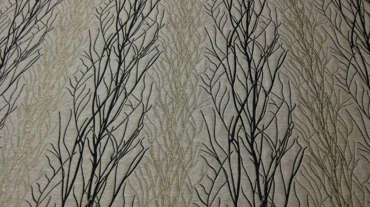 Designer Fabric Modern Tree Branch Black Grey And Taupe