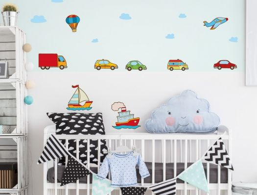 Awesome Auto Wandsticker Set in bunten Farben f r das Babyzimmer