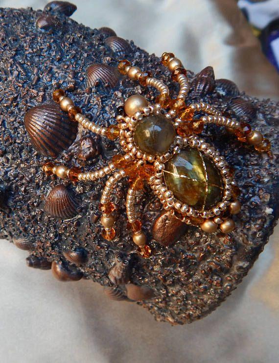 Brooch spider from labradorite Brooch handmade Spider from #Brooch spider #spider