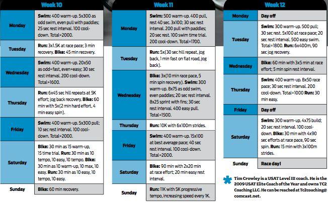 Olympic triathlon training plan