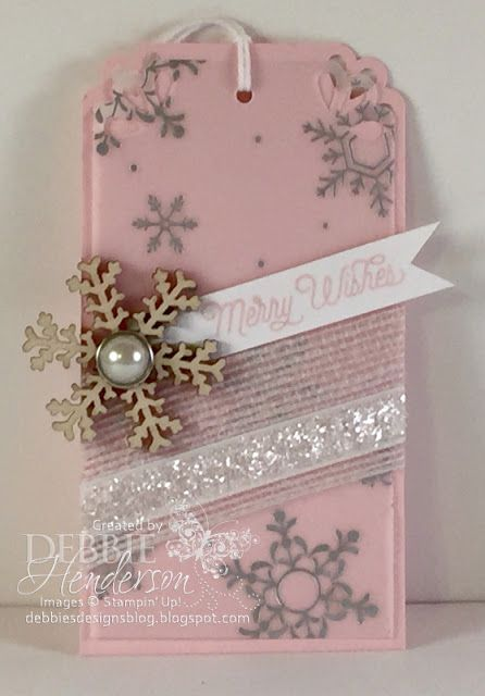 Day #10 of my 12 Days of Christmas tags using Stampin' Up! Holidays Fancy Foil, Snowflake Elements, Glitter Ribbon and more! Debbie Henderson, Debbie's Designs