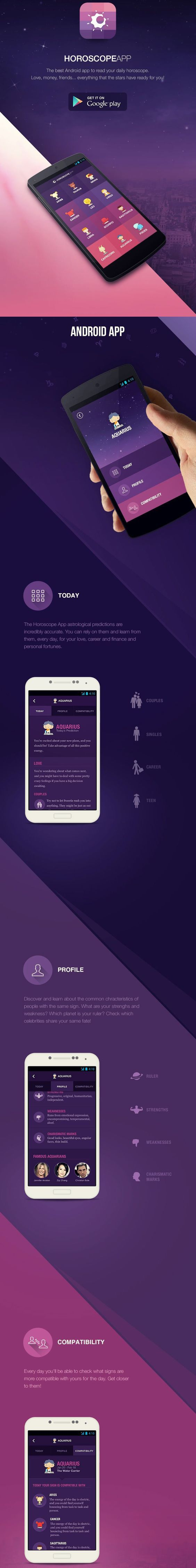 The Horoscope App android smartphone flat design: