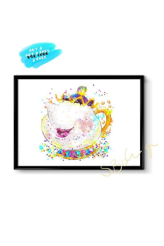 Beauty and the beast poster watercolor poster mrs potts