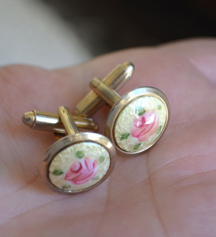 ROSE CUFF LINKS Vintage Pink Rose Enamel Cuff Links on Gold Tone Meal Green Leaves and Creamy White Background by StudioVintage on Etsy