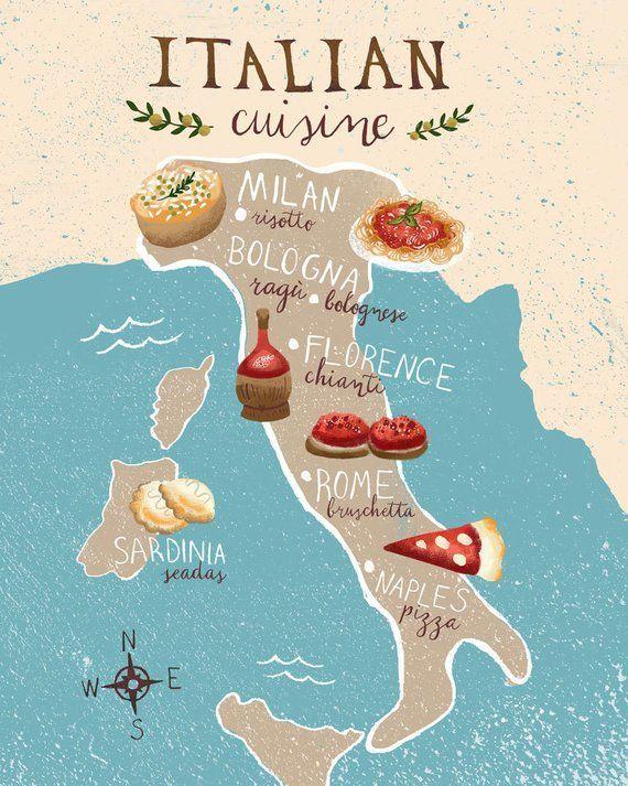 Elegant Food Map Of Italy 8x10 Art Print 8x10 Art Elegant