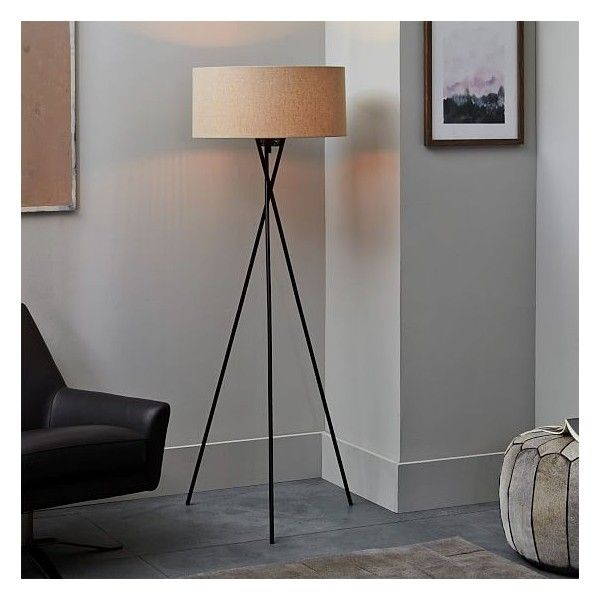 West Elm Mid-Century Tripod Floor Lamp, Antique Bronze/Natural Linen -... ($259) ❤ liked on Polyvore featuring home, lighting, floor lamps, west elm lighting, west elm floor lamp, west elm light, west elm and antique bronze lighting