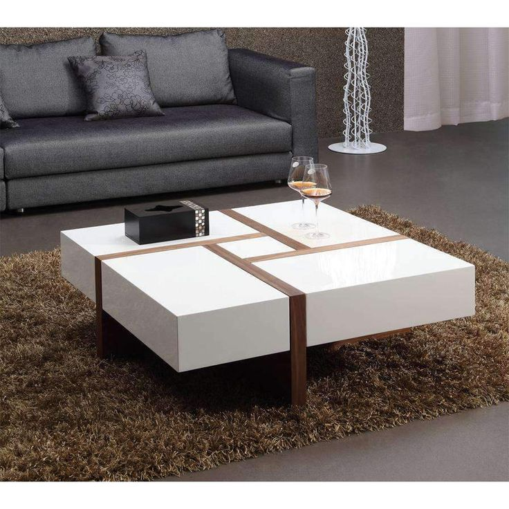 Modrest Upton Modern Square Glass Coffee Table Coffee: Modrest Makai Modern White & Walnut Square Coffee Table Em