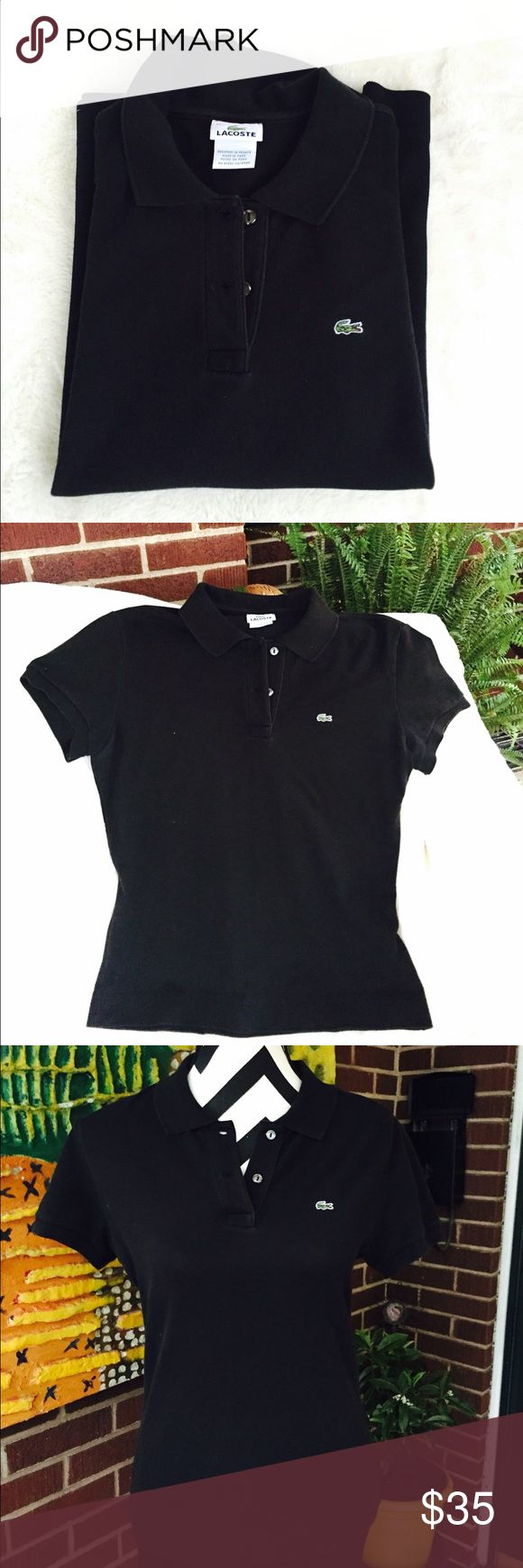 Lacoste Black Polo Shirt (EUR 42- US Large) Classic fit polo shirt black Lacoste. In excellent used condition. I maybe worn this shirt maybe twice. I love the fit of this shirt. Made in Peru and designed in France. This is an authentic Lacoste shirt. Womens size EUR 42; Large US. Lacoste Tops