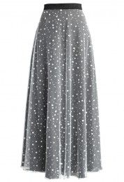 Embellish recycled garments using nice beads to bring them to a whole new level of style. Pearls and Stars Maxi Skirt