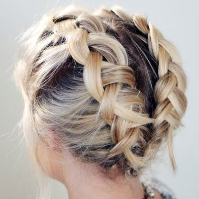Double french braid short hair