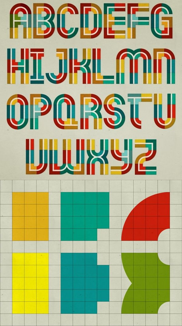 A  modular alphabet, all letters and numbers formed by using 6 basic shapes.  Designed by Antonio Rodriguez, Jr.   #typography