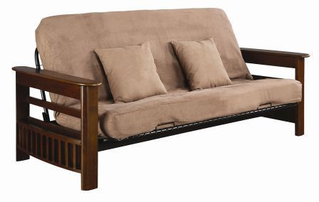 Sleep or sit with elegance and poise with the Serta futon frame and bed. Offering flip-top storage arms and magazine racks, the wire mesh deck provides support and the four position click/clack deck operates with ease from the front of the frame.