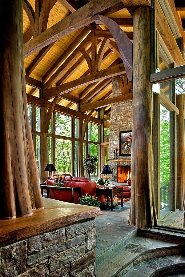 WOW! High ceilings, wooden beams, lots of natural light