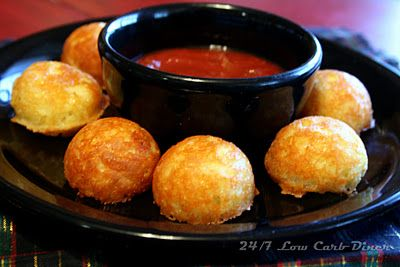 Low Carb Cheese Puppies--dip into marinara or salsa. Made in my cake pop machine