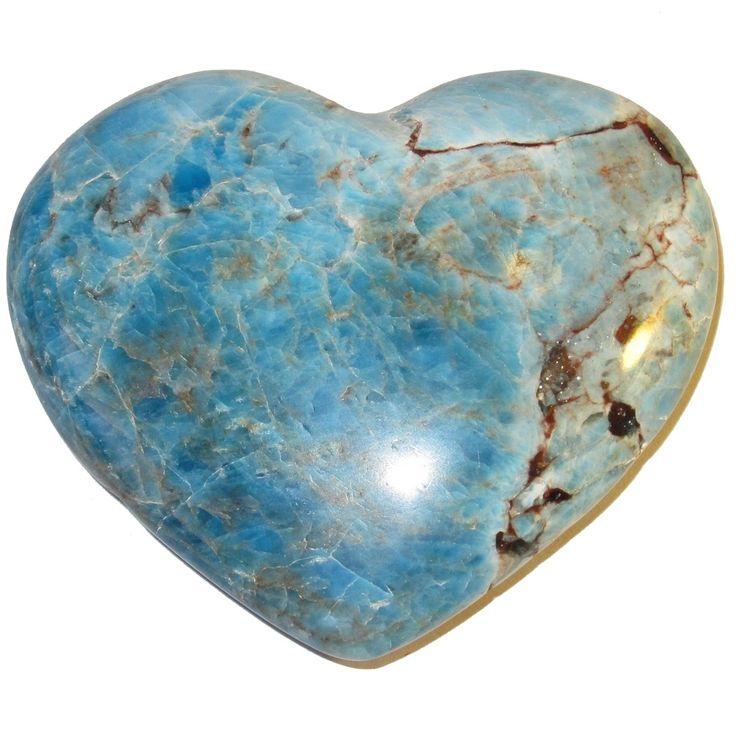 "Apatite Heart 63 Big Blue Crystal Positive Energy Healing Stone Madagascar 2.6"" (Gift Box)"