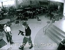 """The Columbine High School massacre... occurred on Tuesday, April 20, 1999, at Columbine High School... Two senior students, Eric Harris and Dylan Klebold, embarked on a massacre, killing 12 students and 1 teacher. They also injured 21 other students directly, and three people were injured while attempting to escape. The pair then committed suicide."" Read more: http://en.wikipedia.org/wiki/Columbine_High_School_massacre"