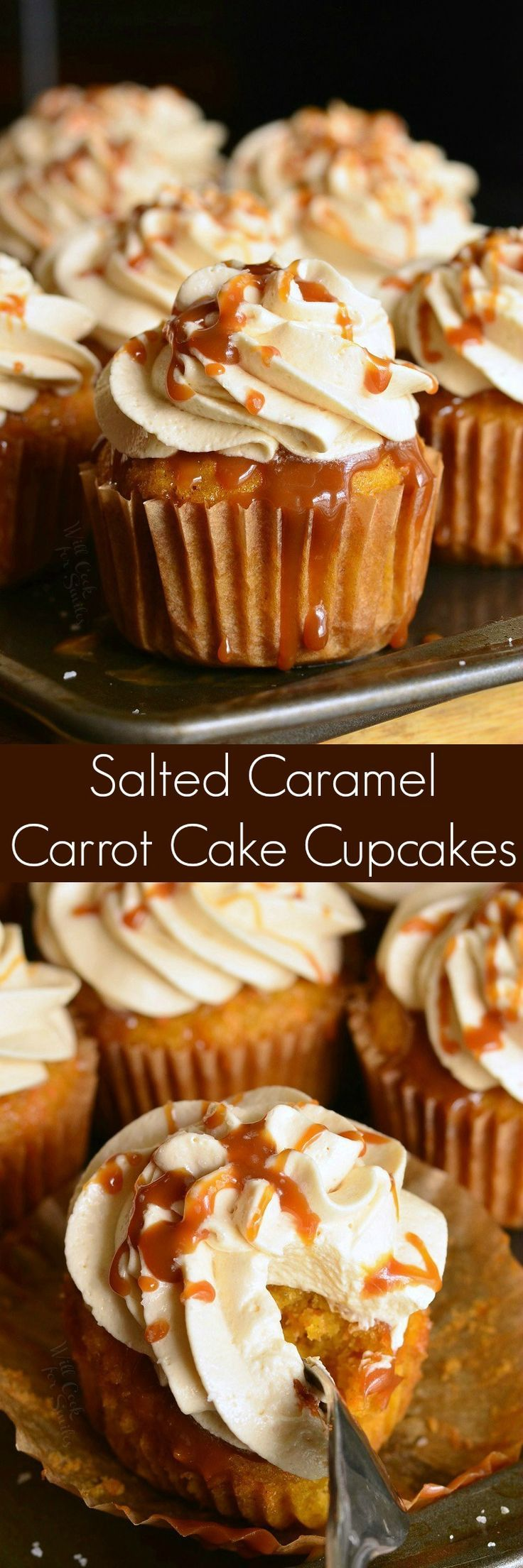 Salted Caramel Carrot Cake Cupcakes. Soft and moist carrot cakes are topped with Caramel Cream Cheese Frosting and topped with caramel drizzle and a sprinkle of salt. (Drip Cake Flavors)