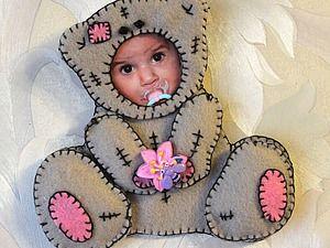 Мастер-класс: детская фоторамка «Костюмчик Тедди» из фетра - Ярмарка Мастеров - ручная работа, handmade