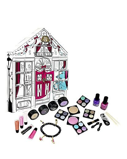 Cosmetic Advent Calendar ~ Countdown to Christmas with this advent calendar. Contains 1 charm bracelet, 4 charms, 3 eyeshimmer pots, 4 eyeshadow quads, 1 glitter pot, 4 lip glosses, 1 nail file, 2 cuticle correctors, 2 nail varnishes, 2 blushers, 2 double applicators and 1 blusher brush. ~ ToO cute!