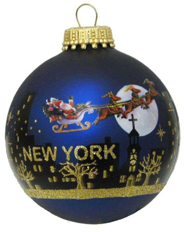 Kurt Adler New York Santa Skyline Painted Ball Ornament, 2-5/8-Inch - Christmas - kerstmis - holidays