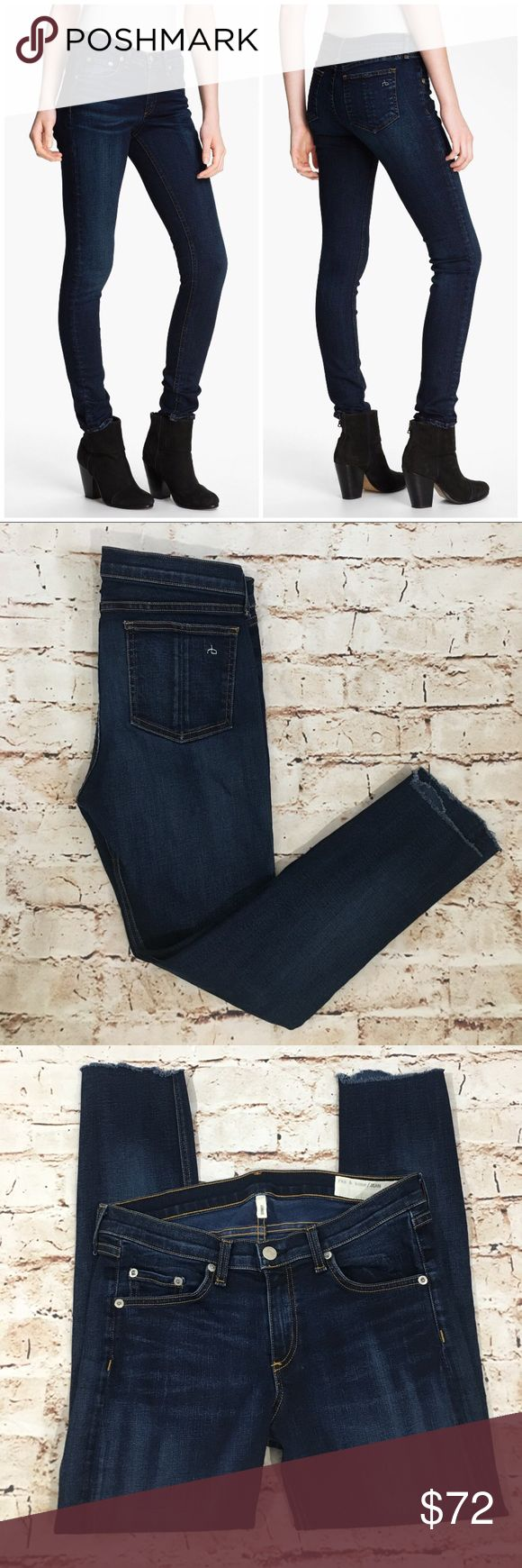 """Rag & Bone Skinny Jeans Woodford Dark Wash Raw Hem MSRP: $198 - SOLD OUT ONLINE Size 29= 8  29"""" waist  Skinny-leg stretch jeans are cut from dark-rinse stretch denim detailed with fading. * 24"""" inseam; 10 1/2"""" leg opening; 9"""" front rise; 13"""" back rise. * Mid rise fit. * Zip fly with button closure. * Five-pocket style. * 98% cotton, 2% polyurethane. * Machine wash cold; line dry. * Made in the USA of imported fabric. * Style: W1502K520 * Color: WOODFORD * Cut: 7190 * Raw distressed fraying…"""