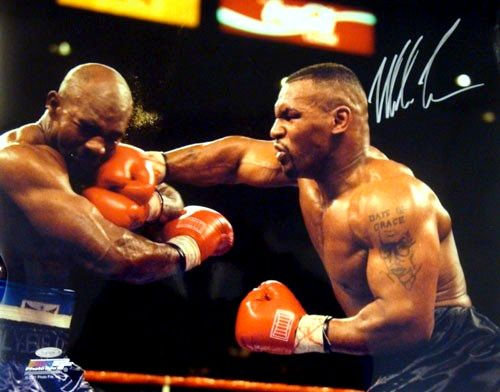 Mike Tyson vs Holyfield 16x20 Photo, Autographed by Tyson