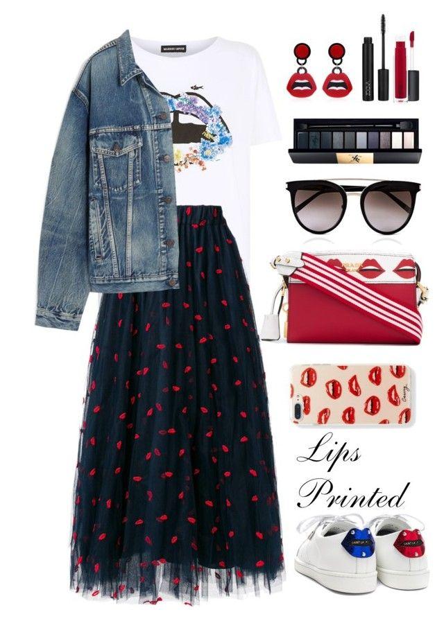 """Lips Printed"" by orrinn ❤ liked on Polyvore featuring MAC Cosmetics, Markus Lupfer, P.A.R.O.S.H., Yves Saint Laurent, Balenciaga, ZOEVA, John Lewis, Prada and Calvin Klein"