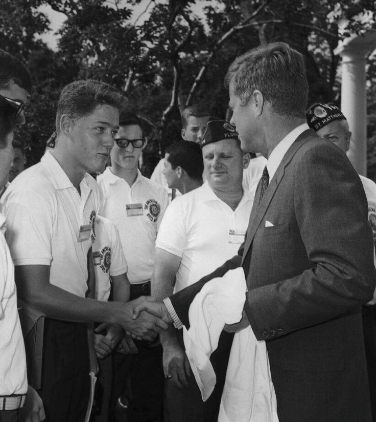 A teenage Bill Clinton shakes President John F. Kennedy's hand in 1963.