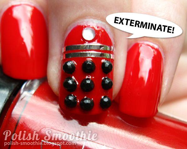 Polish Smoothie: Doctor Who nail art: Red Daleks