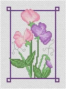 July sweet peas free cross stitch chart