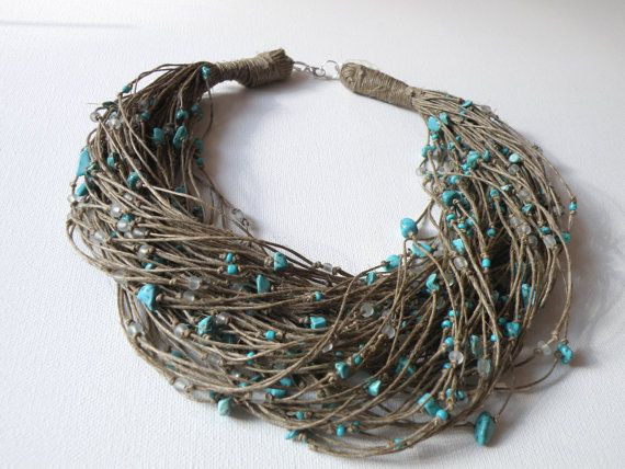 Turquoise linen necklace by GreyHeartOfStone on Etsy