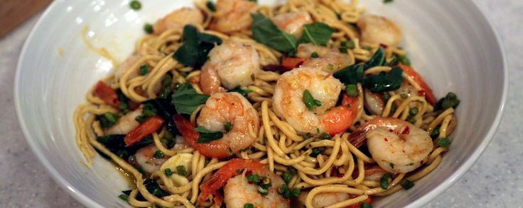 Shrimp and Asparagus Pasta Recipe | The Chew - ABC.com I made this today because I had asparagus left from Baked Salmon & Asparagus in parchment. It was wonderful, made a half recipe but used full lemon. It was wondrous.