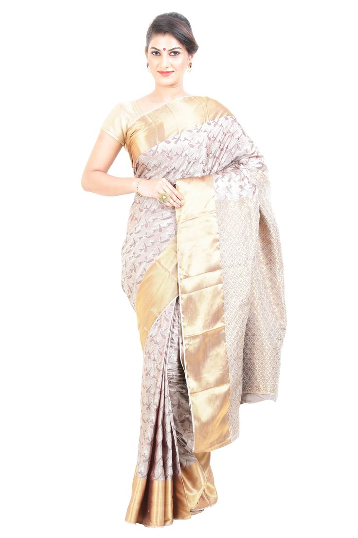 Symbolize the trends of unfaded fashion with gripping this sensational option of exclusive Kanchipuram saree, designed gorgeously with full body in Creamy White color with handwoven works of artistic designs.