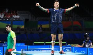 Great Britain's Will Bayley celebrates after winning the Class 7 men's singles table tennis gold medal match against the home favourite Israel Pereira. Photograph: Adam Davy/PA