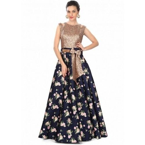 Buy Kalki Fashion Navy Bue Gown Features in Sequin and Floral Print online in India at best price. avy blue gown featuring in floral printed silk. Bodice is embellished in sequin embroidery along wit