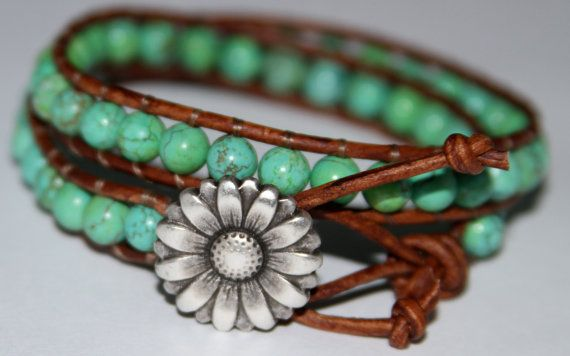 Leather Wrap Genuine Turquoise Beaded Bracelet by JewelitCouture,