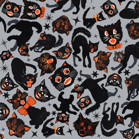 Halloween Cats Grey fabric by heidikenney on Spoonflower - custom fabric