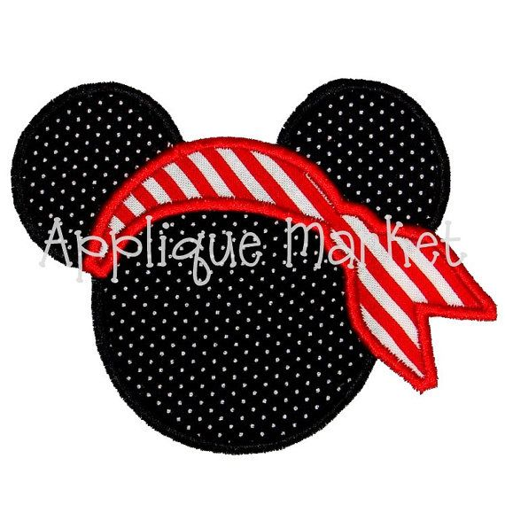 Mickey Mouse Ears Applique Embroidery Design