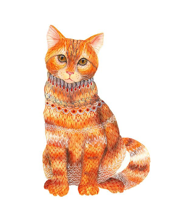 Ginger Cat animal art print by OlaLiola size 8x10 by TevaGallery