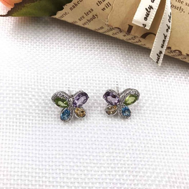 UneJoux Sterling Silver Isis Butterfly Earrings With Colorful Gemstones - UneJoux