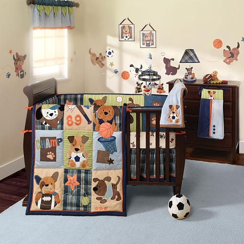 Sooooo cute!!! This is what I would want to do for a little boy's room. Sports and Puppies :)