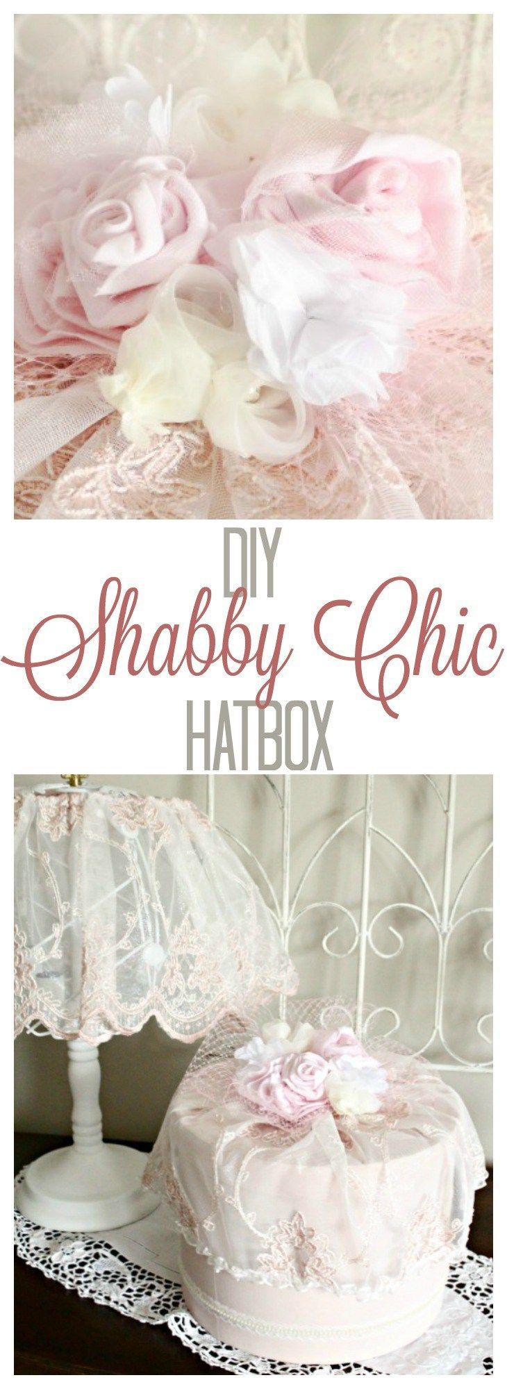 DIY hatbox, hatbox decorating idea, floral hatbox, shabby chic hatbox, vintage hatbox.