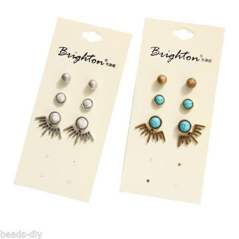 3 Pair/Set BD Fashion Women Retro Statement Bat Wings Turquoise Earrings Suit