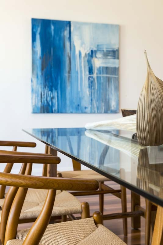 Advantage Property Styling, Dining, Coastal, Palm, Reflective Table, Wishbone Chairs, Art, Water, Blue, Wood, Natural, Glass, Interior Decoration