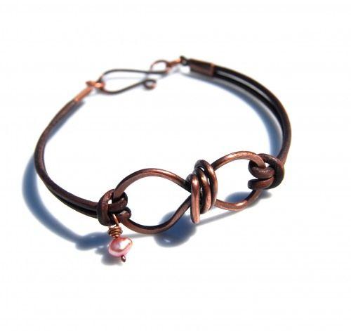 leather & copper wire bracelet #handmade #jewelry #DIY #bracelet #wire_wrapping