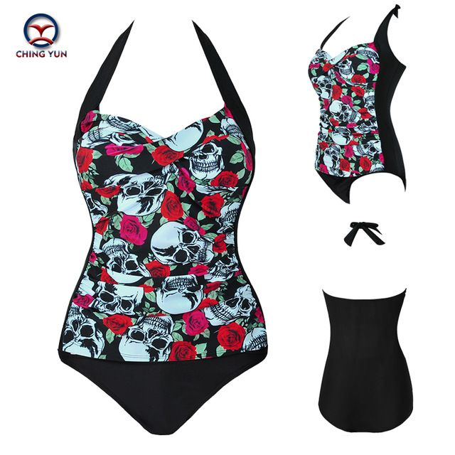 2017 summer hot sale women plus Printing large size swimsuit adjusted ties  Sexy backless beach wear lady swimwear 8905