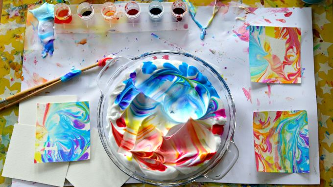 DIY Marbled Paper with Shaving Cream and Watercolors